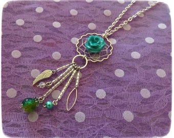 "Necklace ""Dreamcatcher Mint, original, sparkling, shiny, silver, fine, delicate"