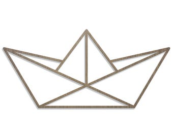 BOAT ORIGAMI laser cut wood size has