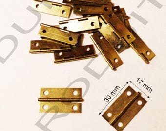 Set of 6 Gold hinged to box jewelry box chest 30x17mm matching screws