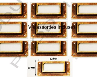 Set of 10 label color Bronze filing drawer door furniture business locker 62 x 29 mm