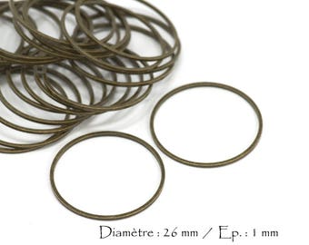 50 round ring diameter 25 mm - thickness 1 mm - color Bronze