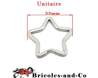 Key ring silver ring star 33mm