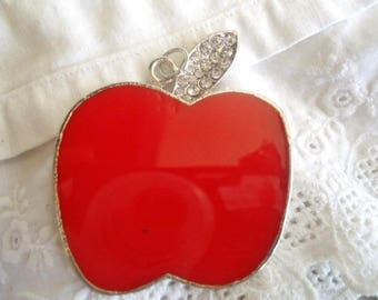 Enameled Red Apple pendant + rhinestones