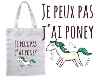"""TOTE BAG 100% cotton """"I can't I pony"""" 2017"""