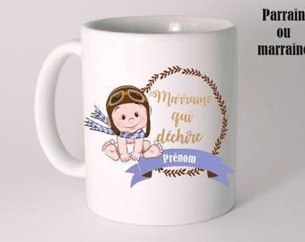 "PERSONALIZED ceramic MUG ""a godmother who rocks"""