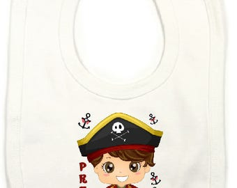 "Large bib ""p"" pirate boy ""personalized"