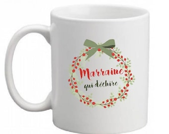 """MUG ceramic SPECIAL Christmas """"GODMOTHER who rocks"""" (can change the text)"""