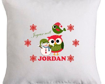 Personalized with the name 3 owl christmas pillow