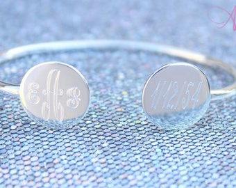 Monogram Bracelet, Monogram Silver Bracelet, Monogram Bangle