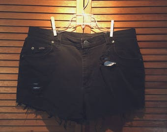 Distressed Black High-Waisted Shorts