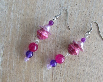 """Pearl paper and natural stones """"Funny"""" earrings"""