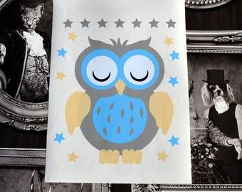 Sticker deco little OWL to adopt. Decor kids vinyl sticker