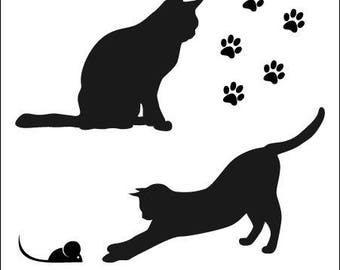 Stickers series cat sticker vinyl decor cats, mouse and Paws