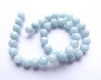 39 beads round green jade colored 10 mm KAST-202