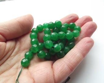 46 round faceted agate Green 8 mm cloud-101