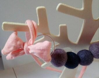 Necklace beads felt purple shades
