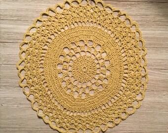 "Hand Crocheted Gold Thread Doily 11"" Diameter"
