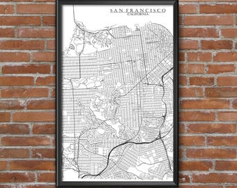 San Francisco, California Map Art