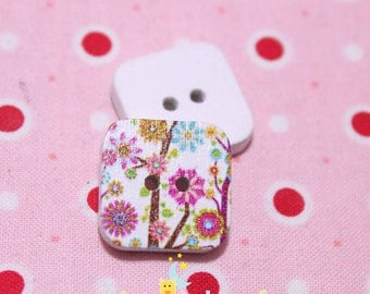 Square wood button two hole flower patterns on white background