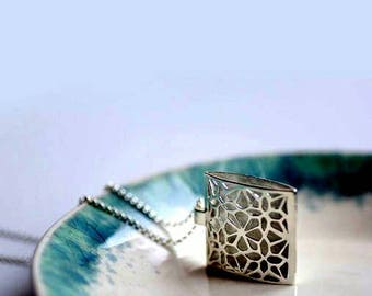 Sterling Silver Necklace Pendant: The Flower Window
