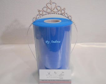 Blue nylon tulle roll Cinderella, high quality, 90 m