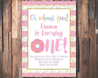 Donut birthday invitation, Girl birthday invitation, Girl first birthday party invitation, First birthday invitation 1034