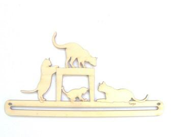 Cintre Chats suspension en bois 16,5 cm