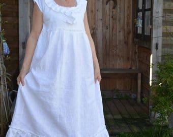white linen dress models Linette