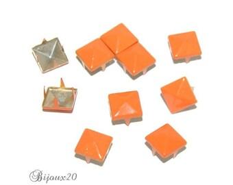 10 clous pyramide 9mm ORANGE à griffes rivet customisation M00323