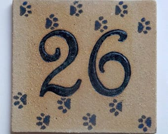 Door House ochre stoneware, number 26, cat paws