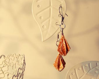 Gold of white origami beads earrings