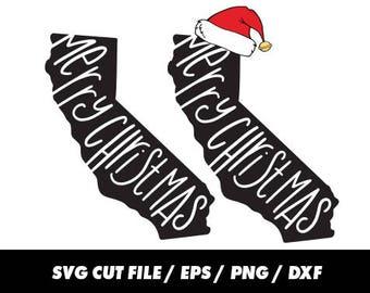 Merry Christmas svg, California svg, State svg, Christmas cricut, Santa svg – svg eps png dxf - Fabric Print Mug Shirt, California cricut