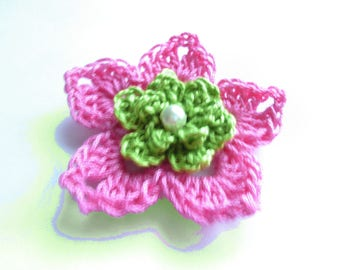 Flower double crochet fuchsia and lime green