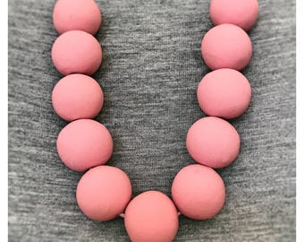 Orchard Pink Beaded Polymer Clay Necklace