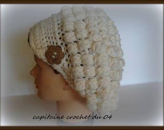 Hat retro style crochet for woman/wool/woman/woman/newsboy cap Beanie Hat Cap white/handmade crochet