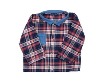 Baby boy girl Plaid snap shirt Plaid jeans