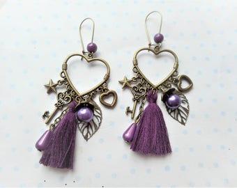 Boucles d'oreilles vintage coeur, bronze, perle prune, breloques feuilles, coeur, clés, pompon