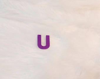 Wooden purple Letter U charm