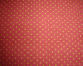 PATCHWORK cotton fabric coral & yellow ¤ 50 X 57 CM