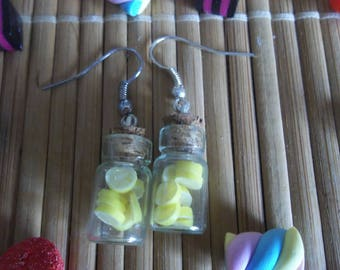 Lemon glass vial earrings