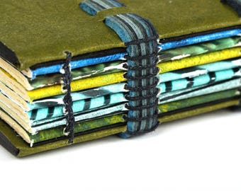 Blank Book with Olive Green Flax Paper Covers