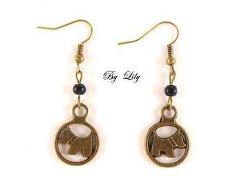 """Earrings ear """"Puppy"""", vintage bronze pendant!"""