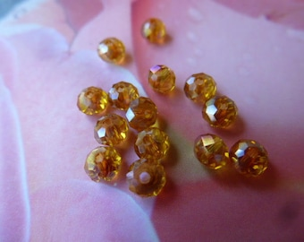 Crystal AB beads faceted abacus 3 x 4 mm light Topaz 25 lot