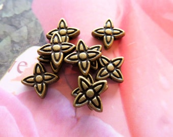 Star beads 9 mm antique bronze 9 mm for jewelry and work creations books set of 10