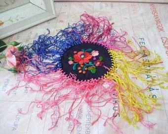 Vintage ,handmade, silkembroidered Hungarian Matyo doily ,flower pattern