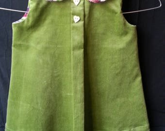 lined cotton corduroy dress flat folds two heart buttons