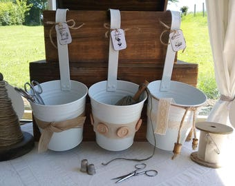 """Set of three buckets with handle accessories """"Couture"""""""