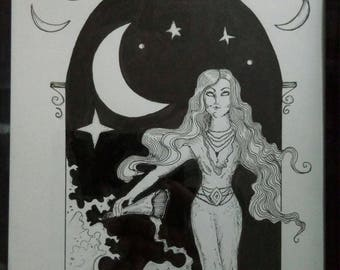 Mystic Moon ink drawing illustration