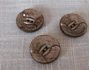 set of 3 Brown buttons glazed 28 mm