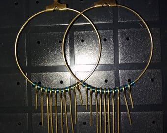 Earrings type bronze hoops and turquoise-40 mm